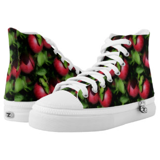 Red Apples On Tree Nature Pattern High-Top Sneakers