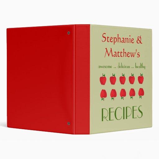 Red Apples Pattern Cookbook and Recipe Binder Vinyl Binders
