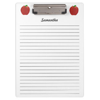Red Apples Personalized Lined Clipboards
