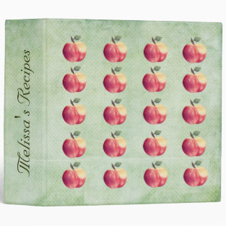 Red Apples Personalized Name Recipe Binder