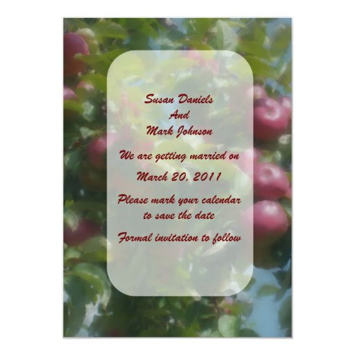 Red Apples Tree Wedding Save The Date 5x7 Paper Invitation Card