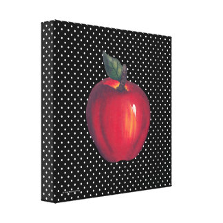 Red Apples White on Black Polka Dots Stretched Canvas Prints