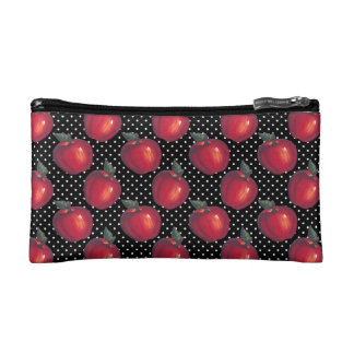 Red Apples White on Black Polka Dots Cosmetic Bag