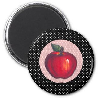 Red Apples White on Black Polka Dots Magnets
