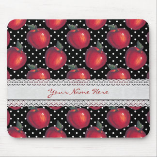 Red Apples White on Black Polka Dots Mouse Pad