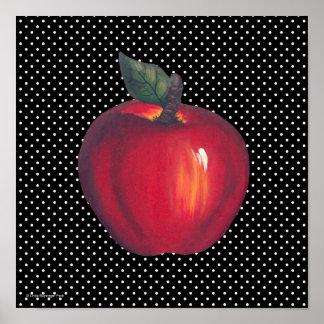 Red Apples White on Black Polka Dots Poster