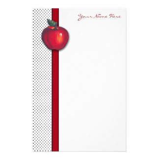 Red Apples White on Black Polka Dots Stationery