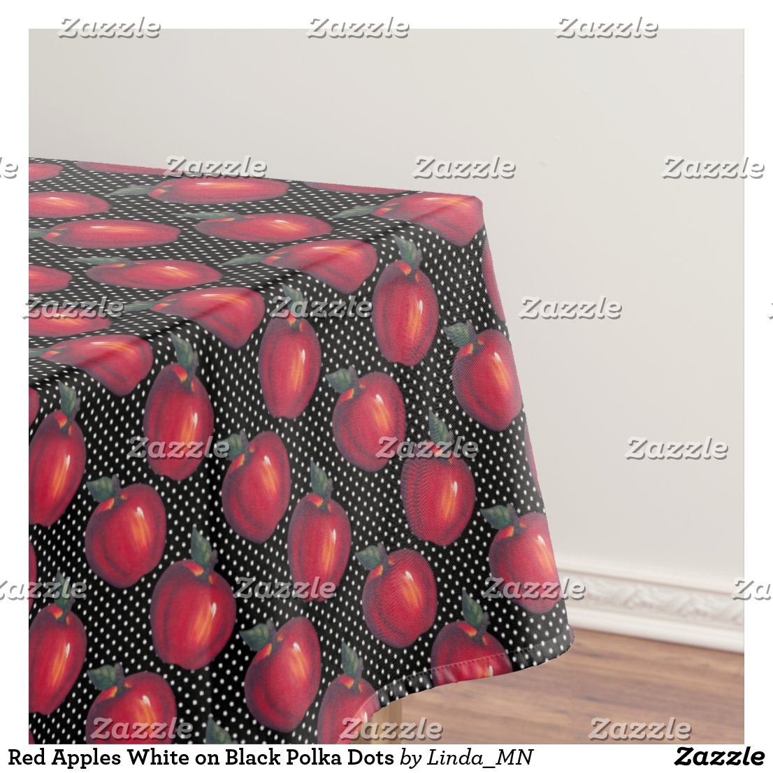 Red Apples White Dots Tablecloth