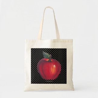 Red Apples White on Black Polka Dots Tote Bag