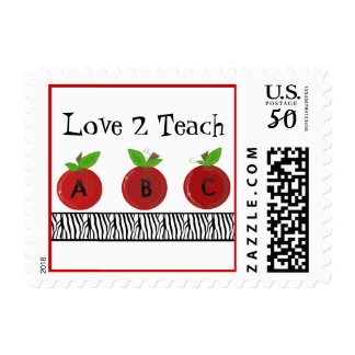 Red Apples with a Zebra Print Border Postage