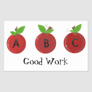 Red Apples with ABC's Rectangular Sticker