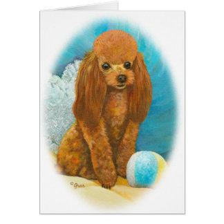 Red Apricot Poodle with Ball Greeting Cards