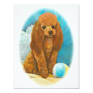 Red Apricot Poodle with Ball Card