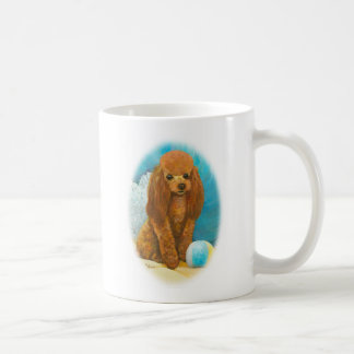 Red Apricot Poodle with Ball Classic White Coffee Mug