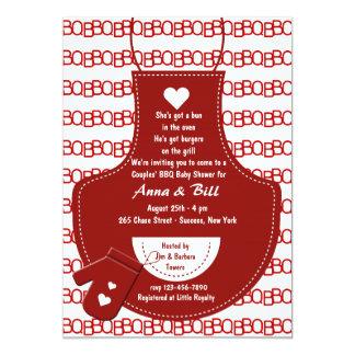 Red Apron BBQ Baby Shower Invitation