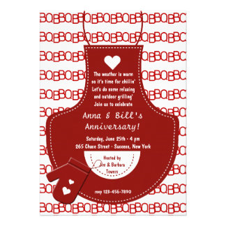 Red Apron BBQ Invitation
