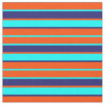[ Thumbnail: Red, Aqua, and Midnight Blue Lines Fabric ]