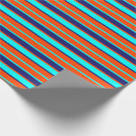 [ Thumbnail: Red, Aqua, and Midnight Blue Lines Wrapping Paper ]