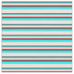 [ Thumbnail: Red, Aqua, and Mint Cream Colored Lined Pattern Fabric ]