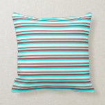 [ Thumbnail: Red, Aqua, and Mint Cream Colored Lined Pattern Throw Pillow ]