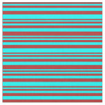 [ Thumbnail: Red & Aqua Colored Lines/Stripes Pattern Fabric ]