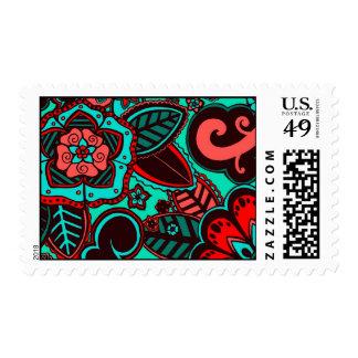 Red & Aqua Floral Postage Stamp