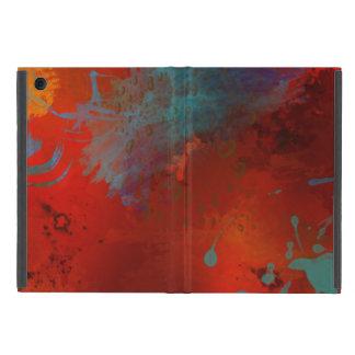 Red, Aqua & Gold Grunge Digital Abstract Art iPad Mini Case