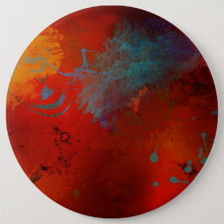 Red, Aqua & Gold Grunge Digital Abstract Art Pinback Button