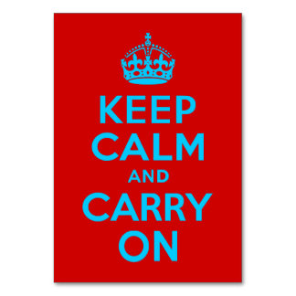 Red Aqua Keep Calm and Carry On Table Cards
