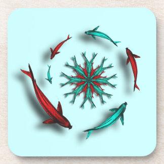 Red & Aqua Koi Fish Square Cork Coaster