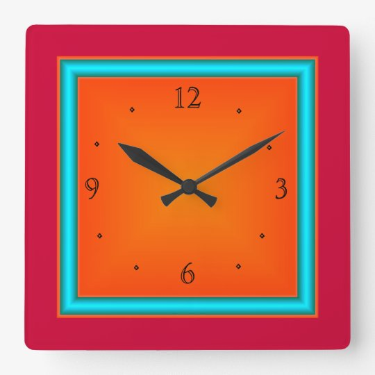 Red/Aqua/Orange>Wall Clock