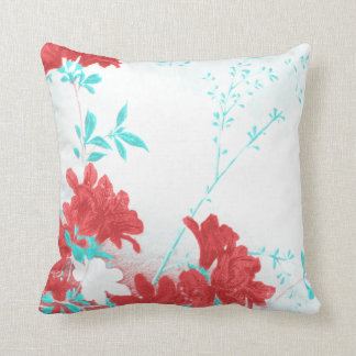 Red aqua teal spring flower blossom  Throw pillow