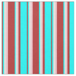 [ Thumbnail: Red, Aqua, White & Pink Colored Lines Pattern Fabric ]
