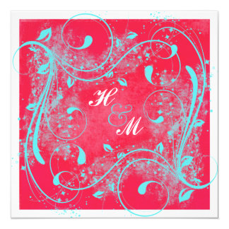 Red, Aqua, White Swirls Wedding Invitation