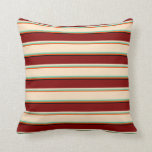 [ Thumbnail: Red, Aquamarine, Bisque, Maroon & Black Colored Throw Pillow ]