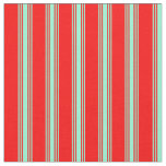 [ Thumbnail: Red & Aquamarine Colored Striped Pattern Fabric ]
