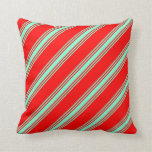 [ Thumbnail: Red & Aquamarine Colored Striped Pattern Pillow ]