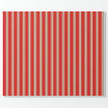 [ Thumbnail: Red & Aquamarine Colored Striped Pattern Wrapping Paper ]