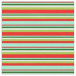 [ Thumbnail: Red, Aquamarine, Dark Green, Mint Cream & Green Fabric ]