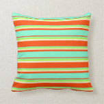 [ Thumbnail: Red, Aquamarine, Light Green, and Light Yellow Throw Pillow ]