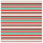 [ Thumbnail: Red, Aquamarine, Maroon & Bisque Colored Lines Fabric ]