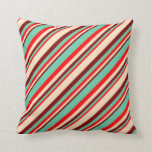 [ Thumbnail: Red, Aquamarine, Maroon & Bisque Colored Lines Throw Pillow ]