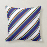 [ Thumbnail: Red, Aquamarine, Midnight Blue, White, and Black Throw Pillow ]