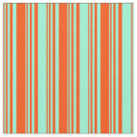 [ Thumbnail: Red & Aquamarine Striped Pattern Fabric ]