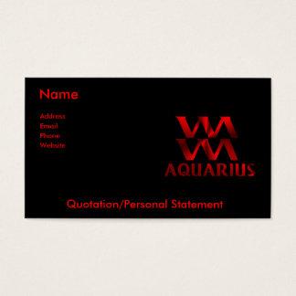 Red Aquarius Horoscope Symbol Business Card