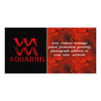 Red Aquarius Horoscope Symbol Card