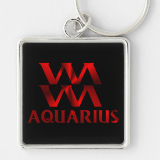 Red Aquarius Horoscope Symbol Keychain