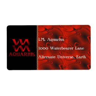 Red Aquarius Horoscope Symbol Label