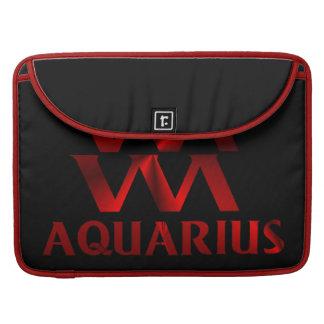 Red Aquarius Horoscope Symbol Sleeves For MacBook Pro