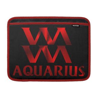 Red Aquarius Horoscope Symbol MacBook Sleeve